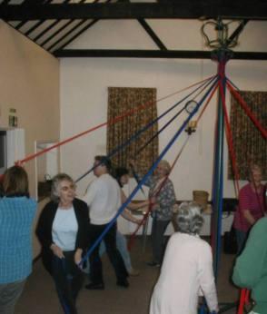 Maypole dancing in Starston